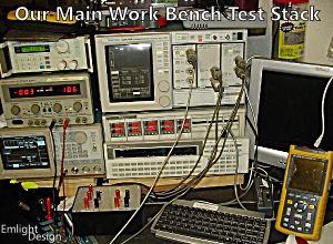 Emlight's main test bench equipment stack